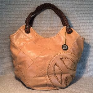 "THE SAK GOES ""BIG"" LEATHER TOTE Flower Child PEACE"